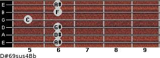 D#6/9sus4/Bb for guitar on frets 6, 6, 6, 5, 6, 6