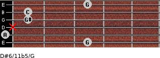 D#6/11b5/G for guitar on frets 3, 0, x, 1, 1, 3