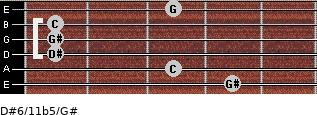 D#6/11b5/G# for guitar on frets 4, 3, 1, 1, 1, 3