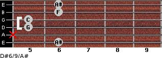 D#6/9/A# for guitar on frets 6, x, 5, 5, 6, 6