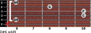 D#6(add9) for guitar on frets x, 6, 10, 10, 8, 6
