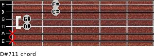 D#-7/11 for guitar on frets x, x, 1, 1, 2, 2