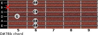 D#7/Bb for guitar on frets 6, 6, 5, 6, x, 6