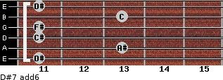 D#-7(add6) for guitar on frets 11, 13, 11, 11, 13, 11