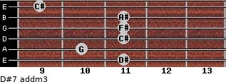D#7 add(m3) for guitar on frets 11, 10, 11, 11, 11, 9