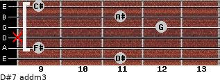 D#7 add(m3) for guitar on frets 11, 9, x, 12, 11, 9