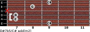 D#7b5/C# add(m2) for guitar on frets 9, 7, 7, x, 8, 9