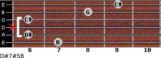 D#7#5/B for guitar on frets 7, 6, x, 6, 8, 9