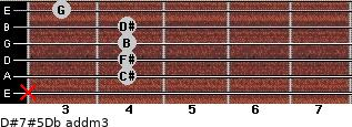 D#7#5/Db add(m3) guitar chord