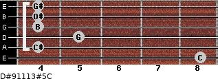 D#9/11/13#5/C for guitar on frets 8, 4, 5, 4, 4, 4