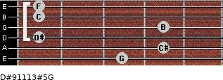 D#9/11/13#5/G for guitar on frets 3, 4, 1, 4, 1, 1