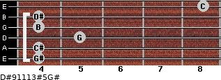 D#9/11/13#5/G# for guitar on frets 4, 4, 5, 4, 4, 8