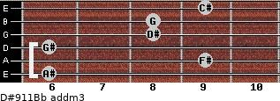 D#9/11/Bb add(m3) guitar chord