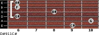 D#9/11/C# for guitar on frets 9, 10, 6, 8, 6, 6