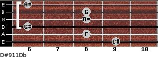 D#9/11/Db for guitar on frets 9, 8, 6, 8, 8, 6