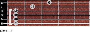 D#9/11/F for guitar on frets 1, 1, 1, 1, 2, 3