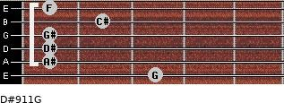 D#9/11/G for guitar on frets 3, 1, 1, 1, 2, 1