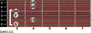 D#9/11/G for guitar on frets 3, 4, 3, 3, 4, 4