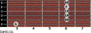 D#9/11/G for guitar on frets 3, 6, 6, 6, 6, 6