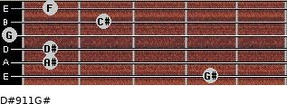 D#9/11/G# for guitar on frets 4, 1, 1, 0, 2, 1