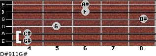 D#9/11/G# for guitar on frets 4, 4, 5, 8, 6, 6
