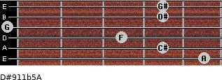 D#9/11b5/A for guitar on frets 5, 4, 3, 0, 4, 4