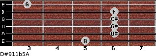 D#9/11b5/A for guitar on frets 5, 6, 6, 6, 6, 3