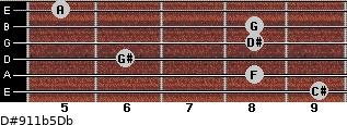 D#9/11b5/Db for guitar on frets 9, 8, 6, 8, 8, 5