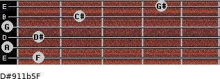 D#9/11b5/F for guitar on frets 1, 0, 1, 0, 2, 4
