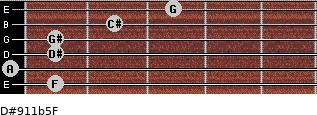 D#9/11b5/F for guitar on frets 1, 0, 1, 1, 2, 3