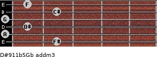 D#9/11b5/Gb add(m3) guitar chord