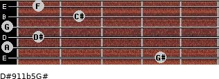 D#9/11b5/G# for guitar on frets 4, 0, 1, 0, 2, 1