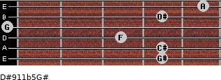 D#9/11b5/G# for guitar on frets 4, 4, 3, 0, 4, 5