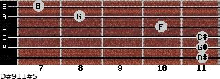 D#9/11#5 for guitar on frets 11, 11, 11, 10, 8, 7