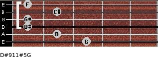 D#9/11#5/G for guitar on frets 3, 2, 1, 1, 2, 1