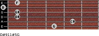 D#9/11#5/G for guitar on frets 3, 4, 1, 1, 0, 1