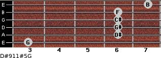 D#9/11#5/G for guitar on frets 3, 6, 6, 6, 6, 7
