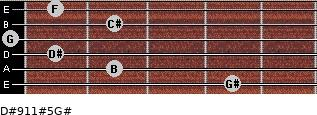 D#9/11#5/G# for guitar on frets 4, 2, 1, 0, 2, 1