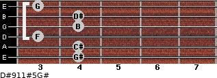 D#9/11#5/G# for guitar on frets 4, 4, 3, 4, 4, 3
