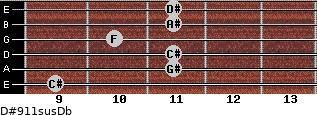 D#9/11sus/Db for guitar on frets 9, 11, 11, 10, 11, 11