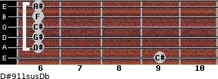 D#9/11sus/Db for guitar on frets 9, 6, 6, 6, 6, 6