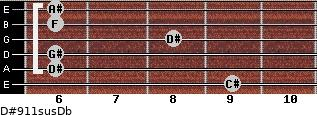 D#9/11sus/Db for guitar on frets 9, 6, 6, 8, 6, 6