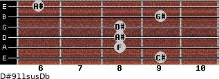 D#9/11sus/Db for guitar on frets 9, 8, 8, 8, 9, 6