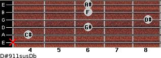 D#9/11sus/Db for guitar on frets x, 4, 6, 8, 6, 6