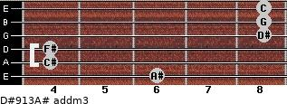 D#9/13/A# add(m3) for guitar on frets 6, 4, 4, 8, 8, 8