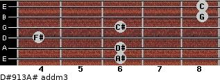 D#9/13/A# add(m3) for guitar on frets 6, 6, 4, 6, 8, 8