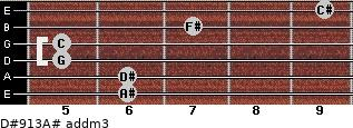D#9/13/A# add(m3) for guitar on frets 6, 6, 5, 5, 7, 9