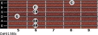 D#9/13/Bb for guitar on frets 6, 6, 5, 6, 6, 8