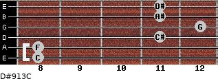 D#9/13/C for guitar on frets 8, 8, 11, 12, 11, 11
