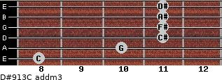 D#9/13/C add(m3) for guitar on frets 8, 10, 11, 11, 11, 11
